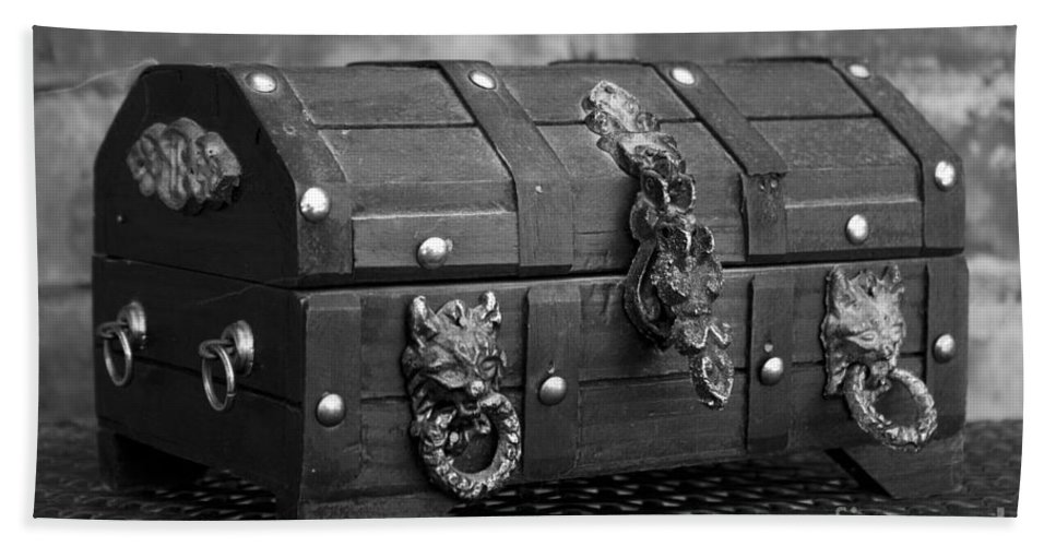 Treasure Bath Sheet featuring the photograph Treasure Chest In Black And White by Alycia Christine