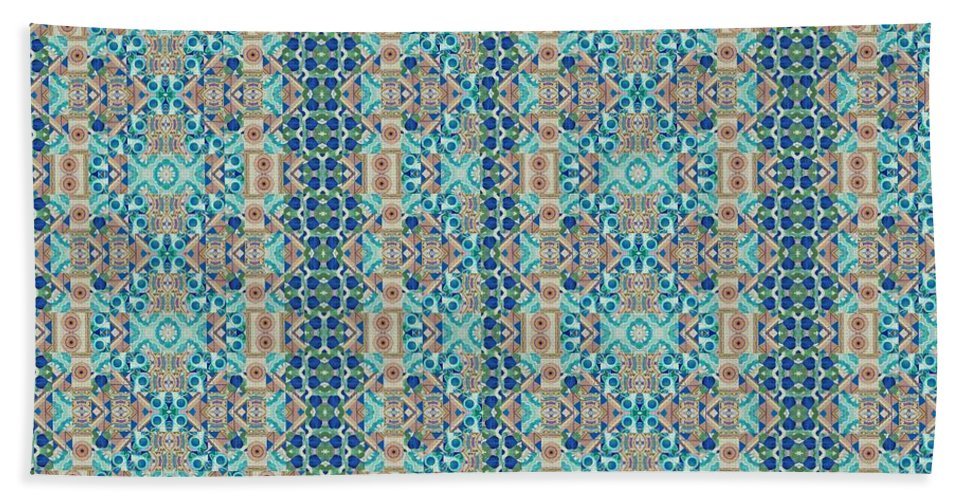 Abstract Bath Sheet featuring the painting Treasure - Inverted Tile Arrangement by Helena Tiainen