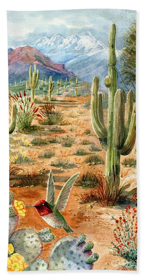 Hummingbirds Hand Towel featuring the painting Treasures Of The Desert by Marilyn Smith