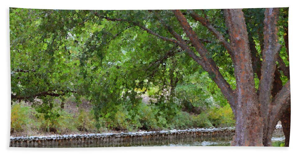 Favorite Spot In The Gardens Hand Towel featuring the painting Tree At Norfolk Botanical Garden 4 by Jeelan Clark