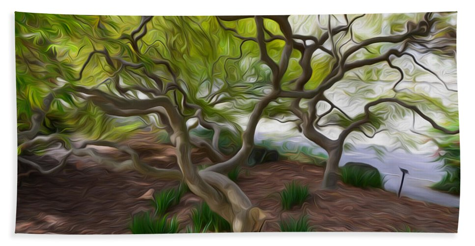 Awe Hand Towel featuring the painting Tree At Norfolk Botanical Garden by Jeelan Clark