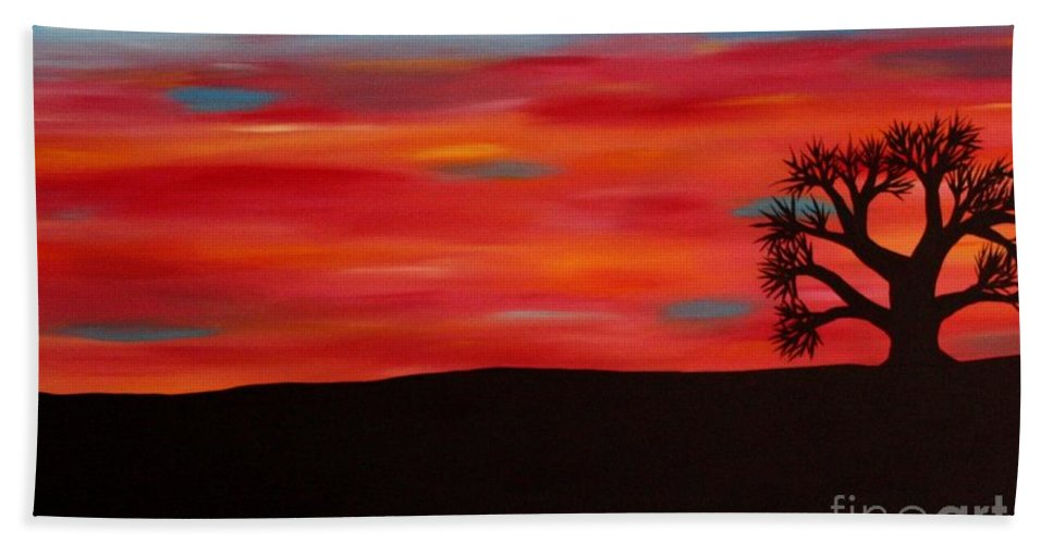 Sunset Bath Sheet featuring the painting Tree At Sunset II by Janell R Colburn