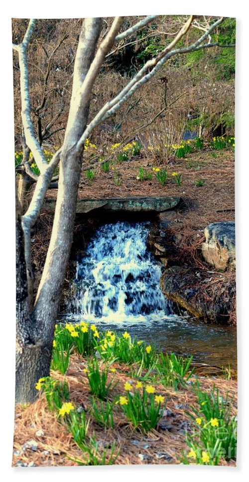 Tree By The Brook Hand Towel featuring the photograph Tree By The Brook by Maria Urso