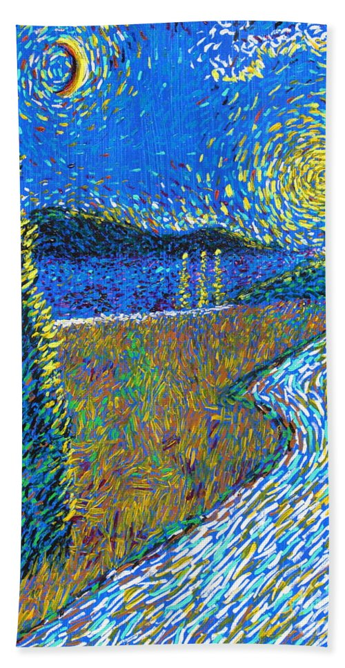 Landscape Hand Towel featuring the painting Tree By The Road by Stefan Duncan