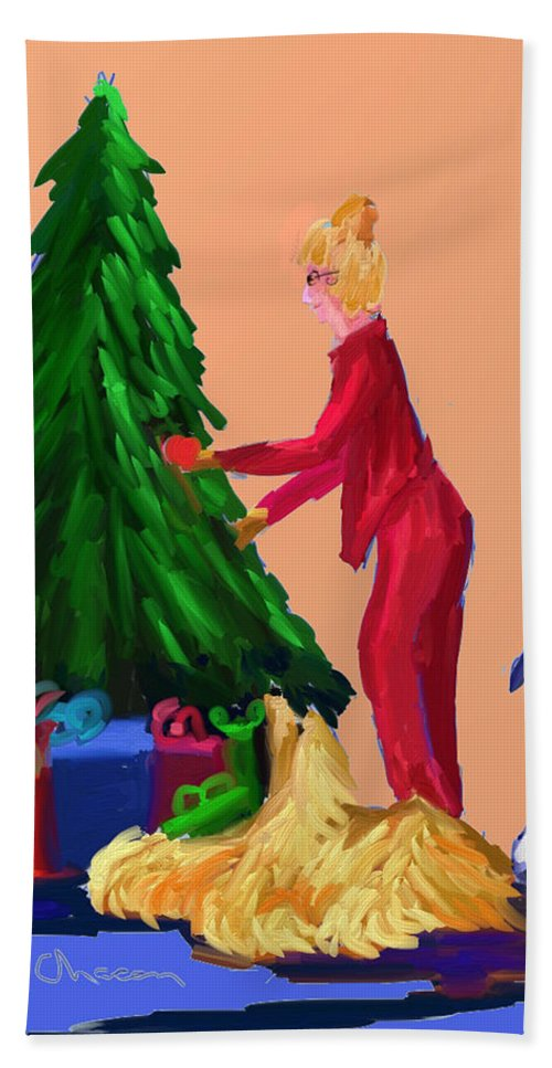 Christmas Card Hand Towel featuring the digital art Tree Decorating by Terry Chacon