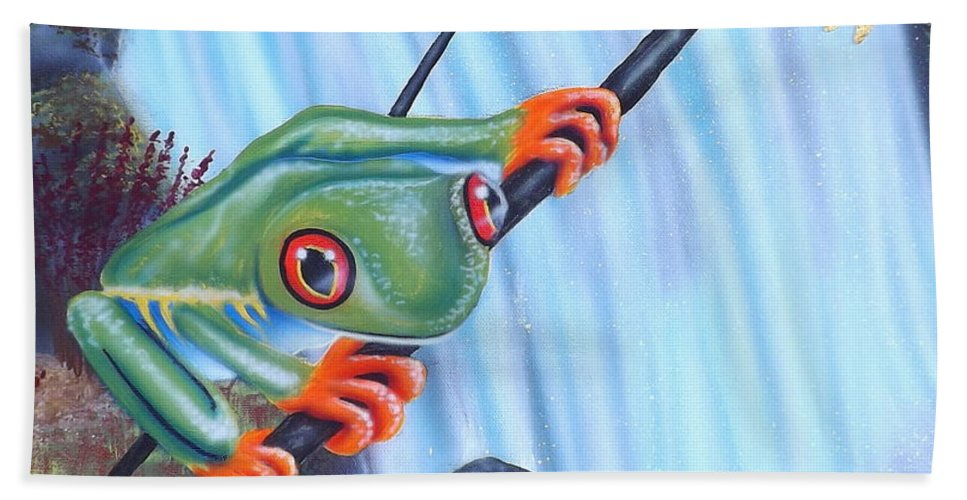 Tree Frog Bath Sheet featuring the painting Tree Frog by Darren Robinson