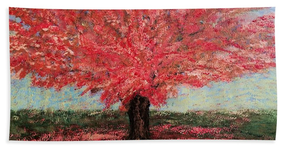 For Porch Bath Sheet featuring the painting Tree In Fall by Suniti Bhand