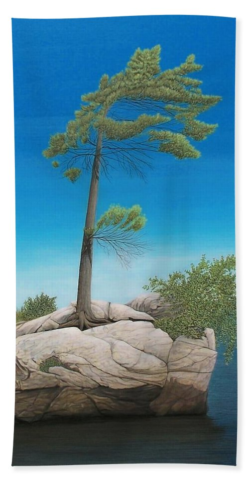 Landscapes Bath Towel featuring the painting Tree In Rock by Kenneth M Kirsch
