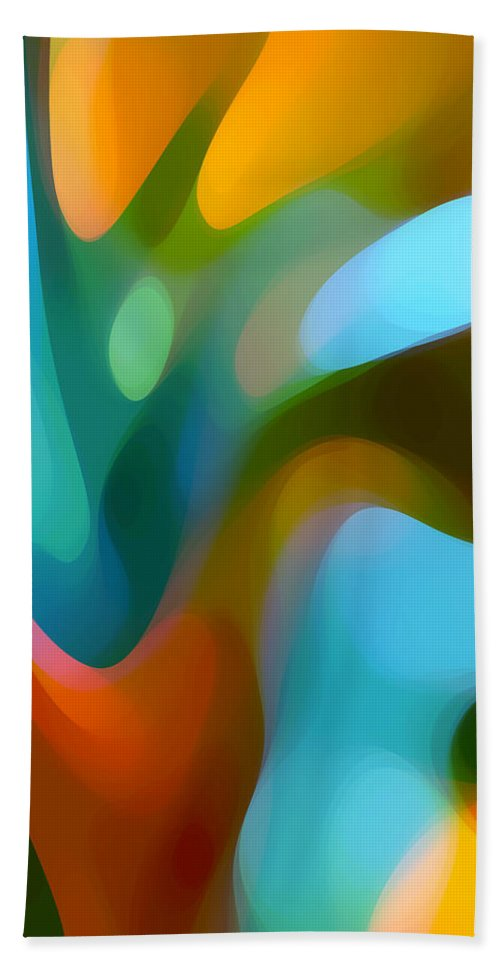 Abstract Bath Towel featuring the painting Tree Light 3 by Amy Vangsgard