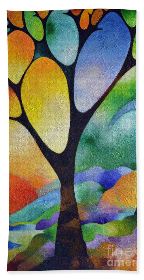 Abstract Hand Towel featuring the painting Tree Of Joy by Sally Trace