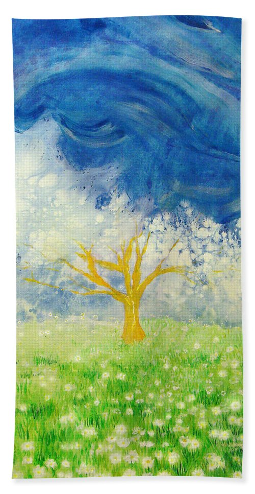 Nature Bath Sheet featuring the painting Tree Of Life by Ashleigh Dyan Bayer