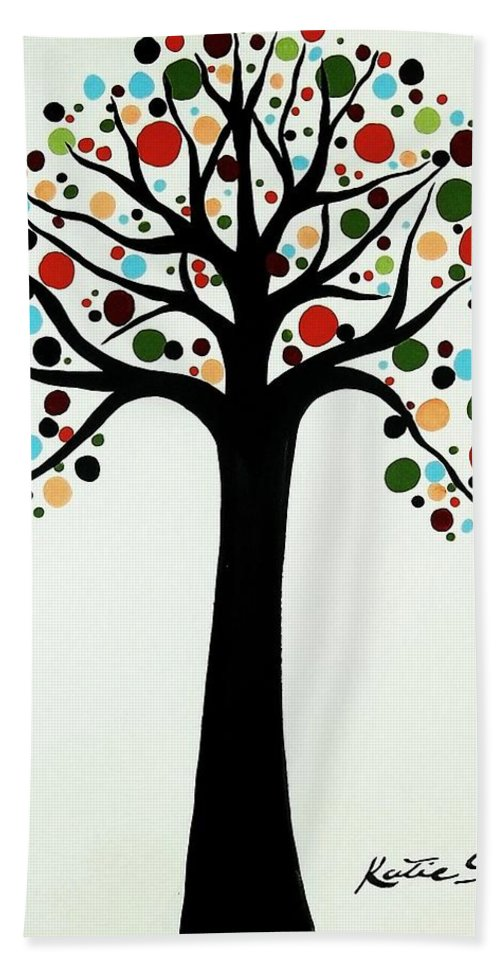 Modern Art Hand Towel featuring the painting Tree Of Life by Katie Slaby
