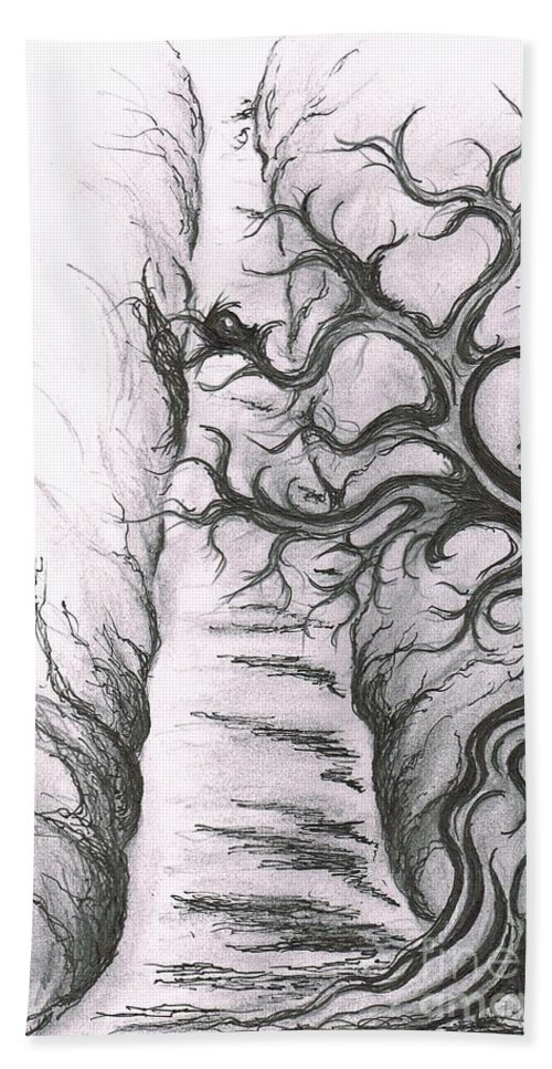 Teresa White Bath Sheet featuring the drawing Tree Of Love by Teresa White