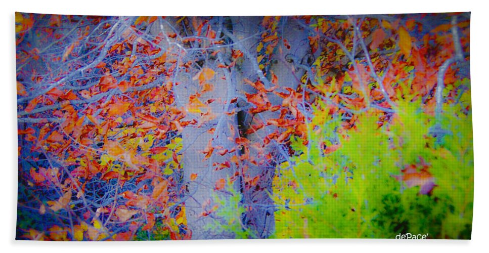 Tree Of Many Colors Hand Towel featuring the digital art Tree Of Many Colors by KJ DePace