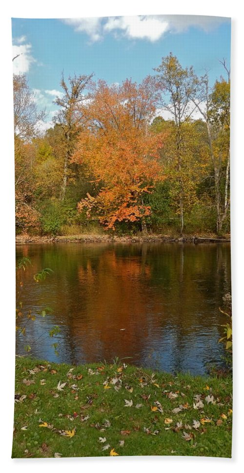 Leaves Bath Sheet featuring the photograph Tree Reflects Into The River by Susan Wyman