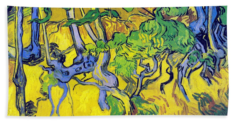 Vincent Van Gogh Hand Towel featuring the digital art Tree Roots And Tree Trunks by Vincent Van Gogh