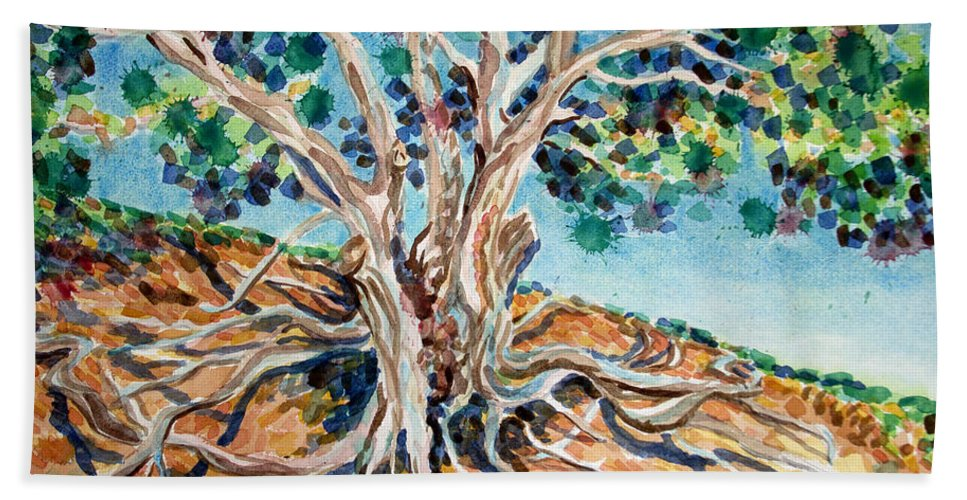 Bonnie Follett Hand Towel featuring the painting Tree Roots by Bonnie Follett