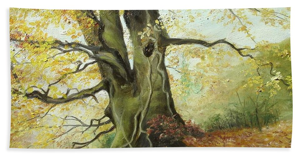 Tree Bath Sheet featuring the painting Tree by Sorin Apostolescu