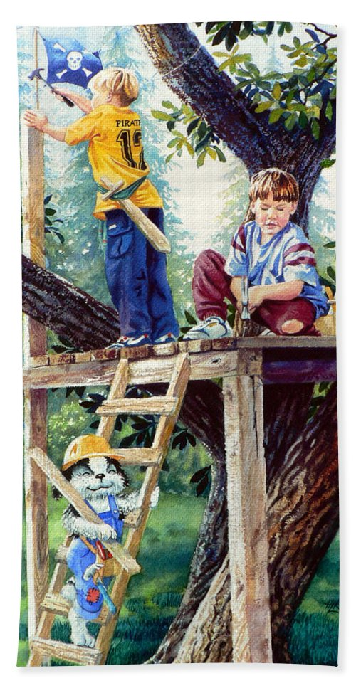 Kids Dog Treehouse Print Bath Sheet featuring the painting Treehouse Magic by Hanne Lore Koehler