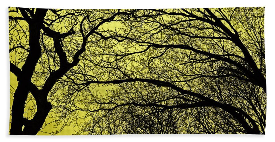 Trees Abstract Bath Sheet featuring the photograph Trees Abstarct Yellow by Nishanth Gopinathan