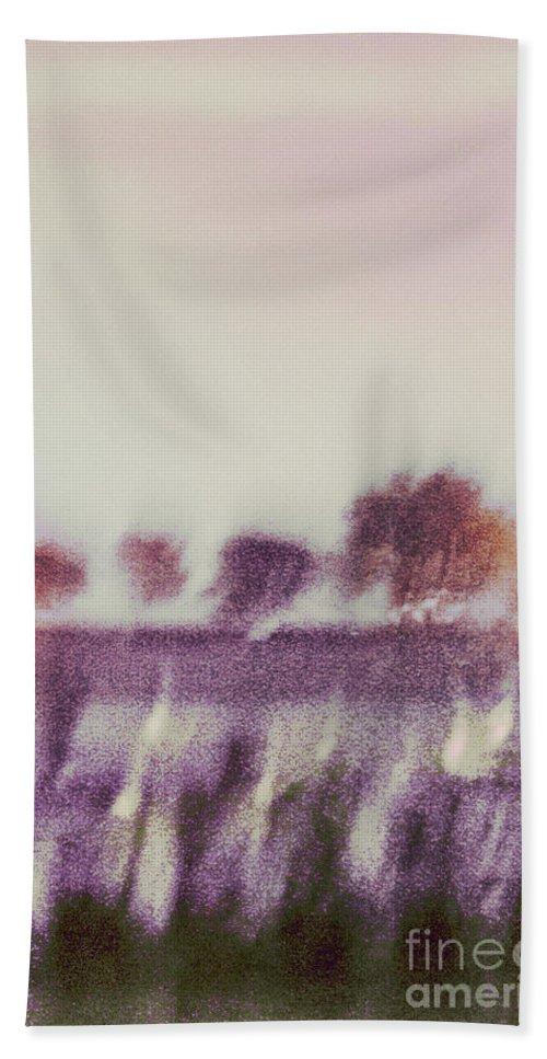 Abstract; Blur; Blurry; Blurred; Trees; Grass; River; Water; Reflection; Sky; Lights; Sunset; Sunrise; Nature; Outside; Outdoors; Rural; Landscape; Pink; Purple; Green; Orange; Yellow Hand Towel featuring the photograph Trees Across The River by Margie Hurwich