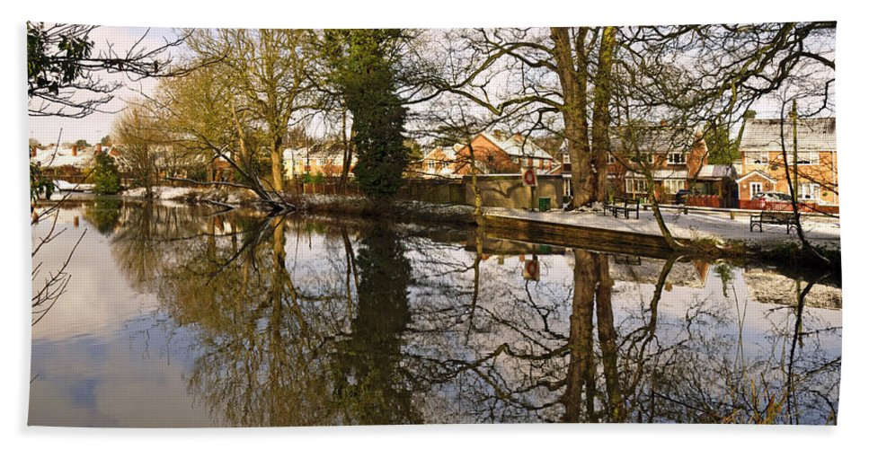 Blue Bath Sheet featuring the photograph Trees Beside The Wintry Rolleston Pond by Rod Johnson