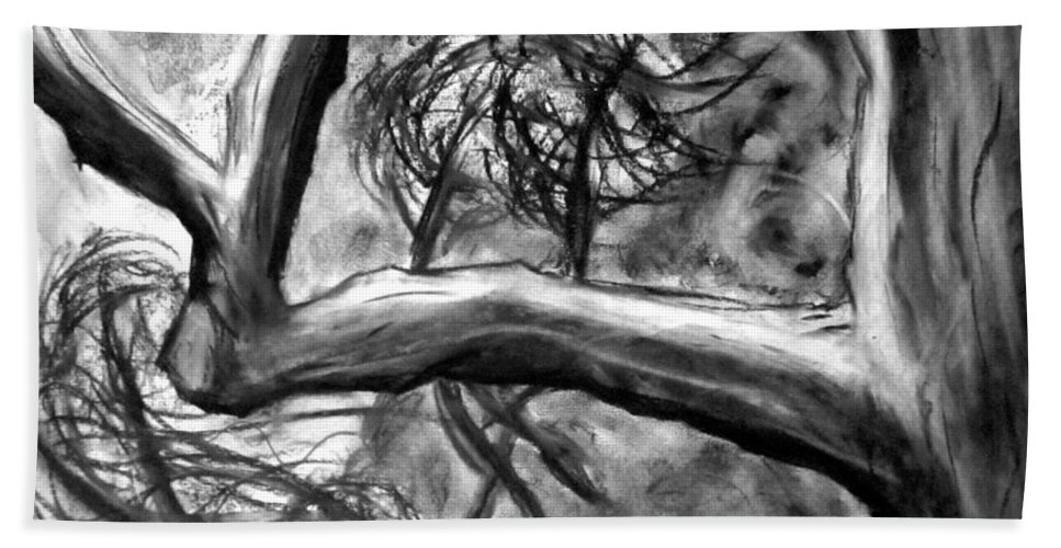 Trees Hand Towel featuring the painting Trees In The Wind by Jason Gluskin