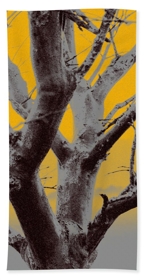 Tree Art Hand Towel featuring the photograph Winter Trees In Yellow Gray Mist 1 by Olivia Novak