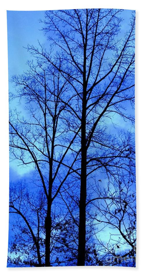 Trees So Tall In Winter Bath Sheet featuring the photograph Trees So Tall In Winter by Maria Urso