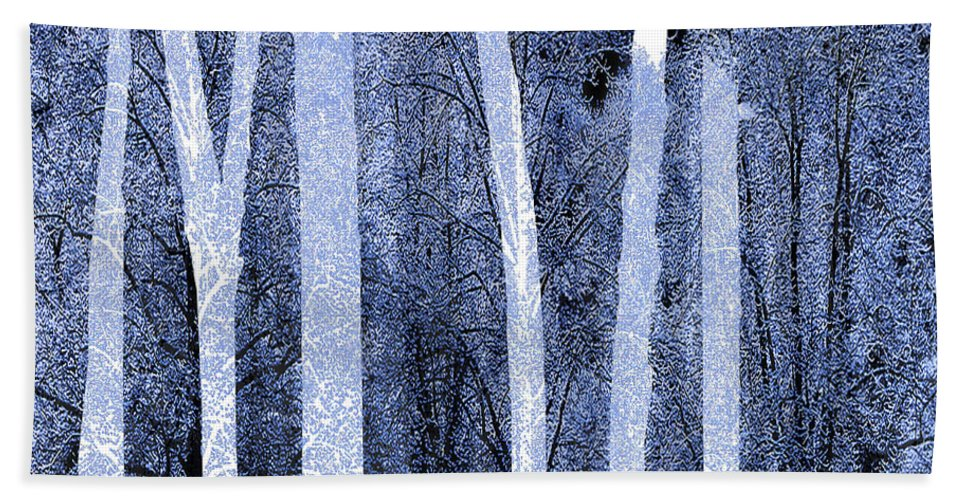 Color Hand Towel featuring the painting Trees Square by Tony Rubino