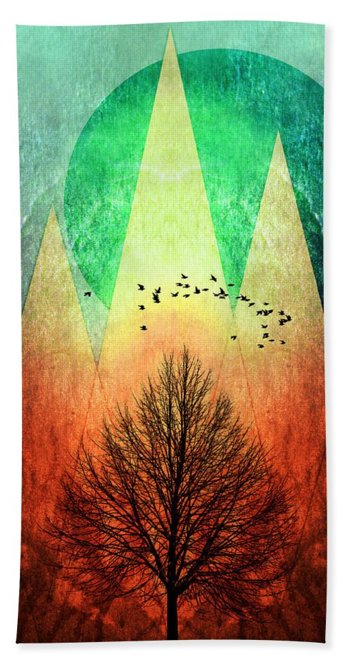 Trees Hand Towel featuring the painting Trees Under Magic Mountains I I by PIA Schneider