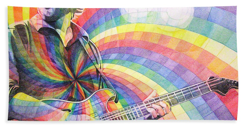 Phish Bath Towel featuring the drawing Trey Anastasio Rainbow by Joshua Morton