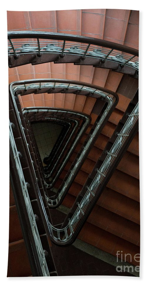 Architecture Hand Towel featuring the photograph Triangle Staircase by Jaroslaw Blaminsky