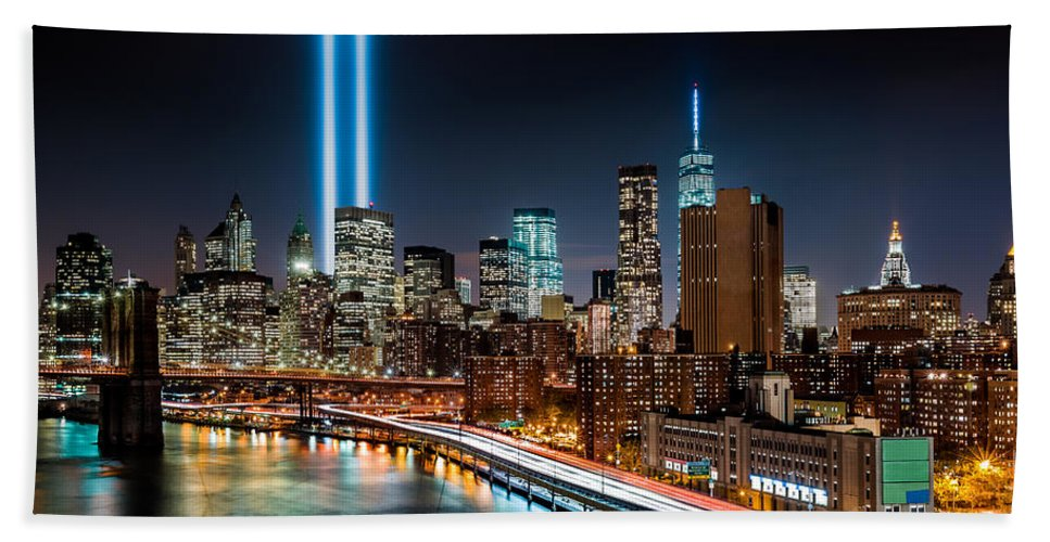 2014 Bath Sheet featuring the photograph Tribute In Light Memorial by Mihai Andritoiu