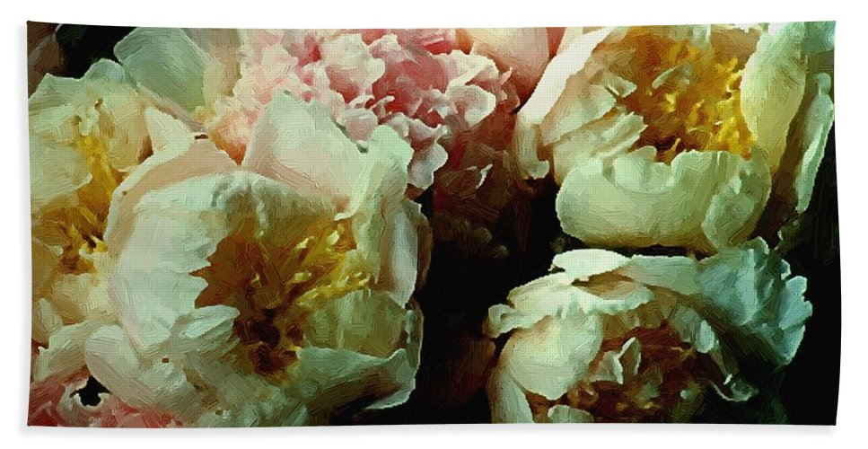 Peonies Bath Sheet featuring the painting Tribute To The Old Masters by RC DeWinter