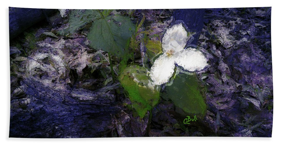 Trilliums Hand Towel featuring the photograph Trilliums by Claire Bull
