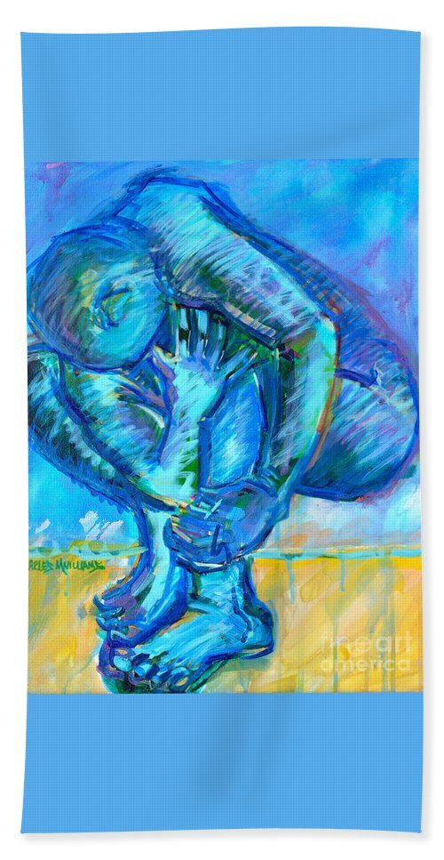 Struggles Hand Towel featuring the painting Trilogy - N My Soul 1 by Charles M Williams