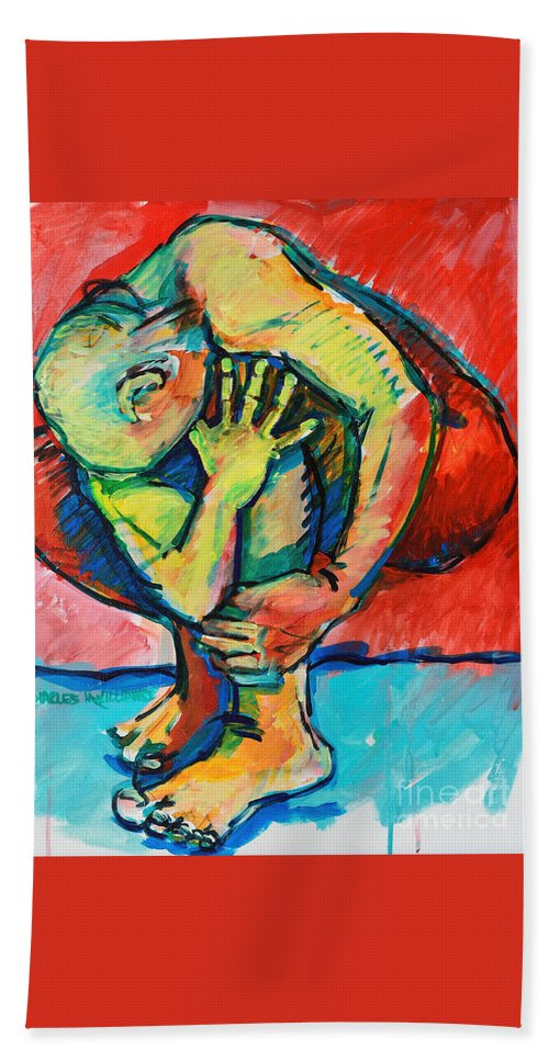 Struggles Hand Towel featuring the painting Trilogy - N My Soul 2 by Charles M Williams