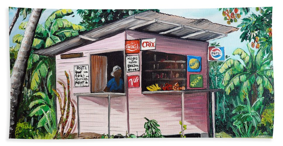 Shop Painting Bath Sheet featuring the painting Trini Roti Shop by Karin Dawn Kelshall- Best
