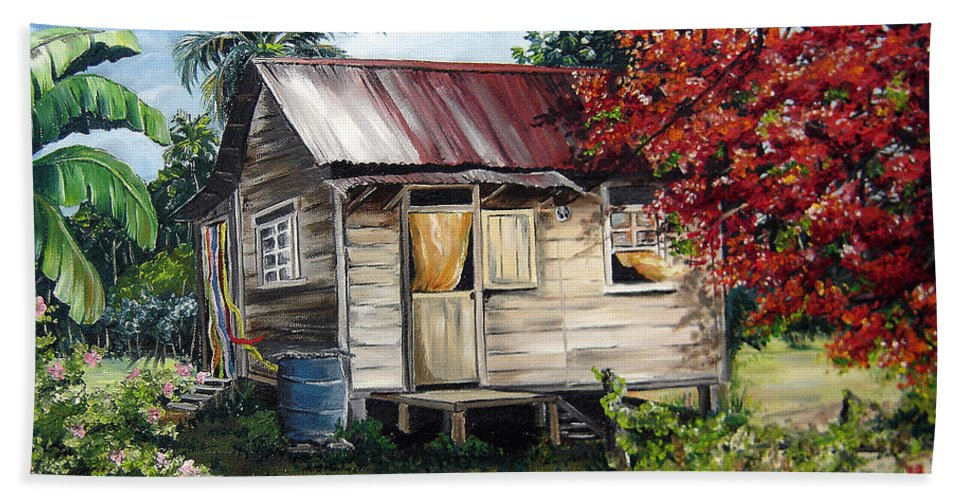 Landscape Paintings Tropical Paintings Trinidad House Paintings House Paintings Country Painting Trinidad Old Wood House Paintings Flamboyant Tree Paintings Caribbean Paintings Greeting Card Paintings Canvas Print Paintings Poster Art Paintings Bath Towel featuring the painting Trinidad Life 1 by Karin Dawn Kelshall- Best