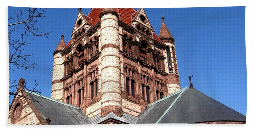 Boston Bath Sheet featuring the photograph Trinity Church Boston by Marcello Cicchini