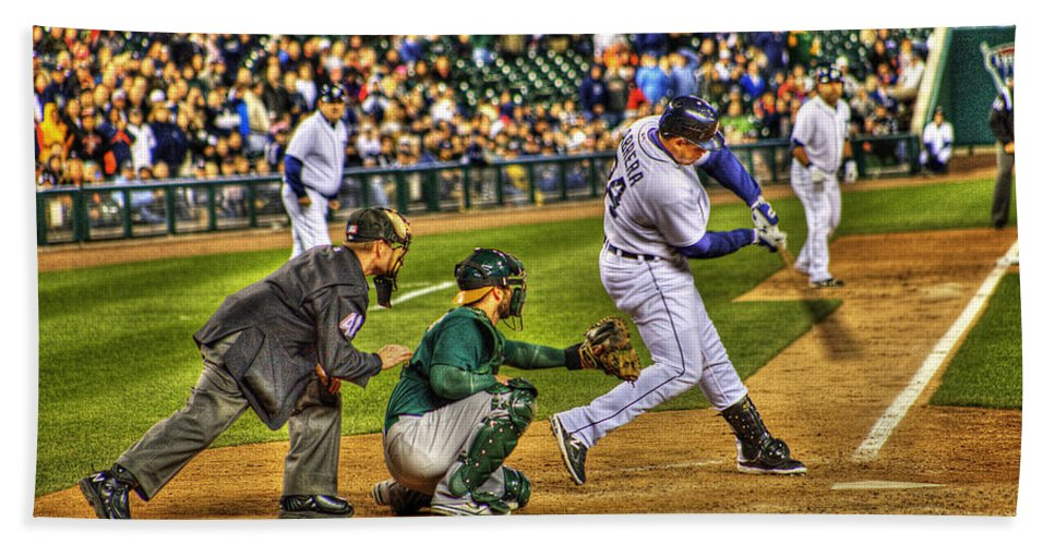 Miguel Cabrera Hand Towel featuring the photograph Triple Crown Winner Detroit Tigers Miguel Cabrera by A And N Art