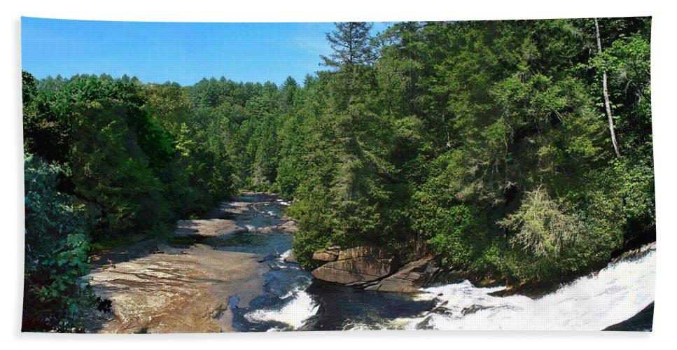 Triple Falls North Carolina Hand Towel featuring the photograph Triple Falls North Carolina by Steve Karol