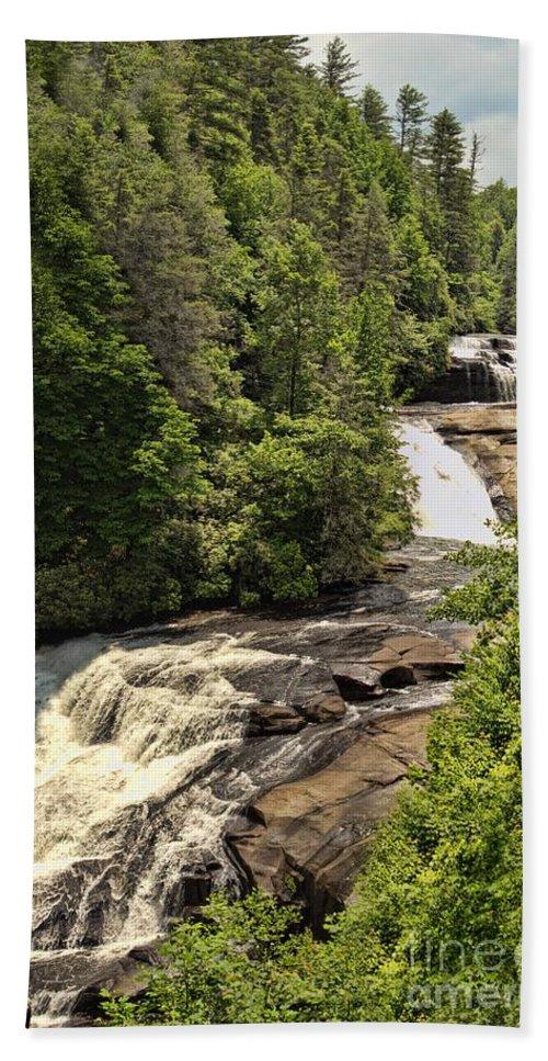 Cliffs Bath Sheet featuring the photograph Triple Falls by Sandra Clark