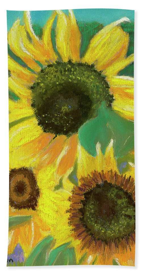 Sunflowers Bath Sheet featuring the painting Triple Gold by Arlene Crafton