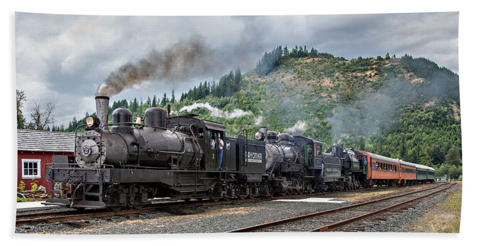 Mt Rainier Scenic Railroad Bath Sheet featuring the photograph Triple Header In Color by Mary Jo Allen