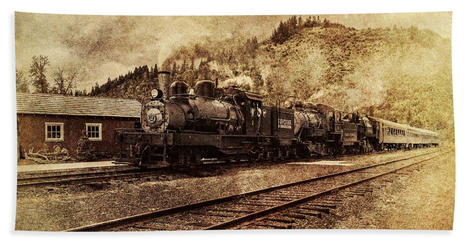 Mt Rainier Scenic Railroad Bath Sheet featuring the photograph Triple Header by Mary Jo Allen