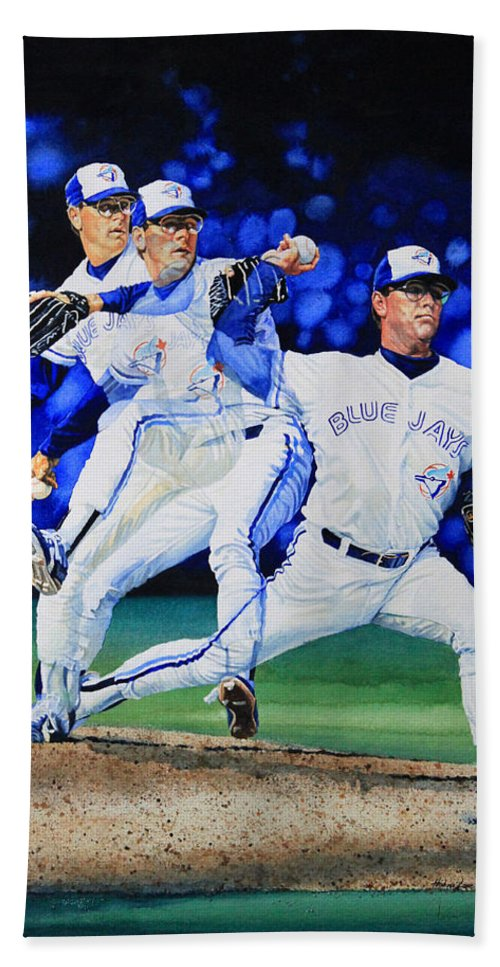Sports Art Bath Sheet featuring the painting Triple Play by Hanne Lore Koehler