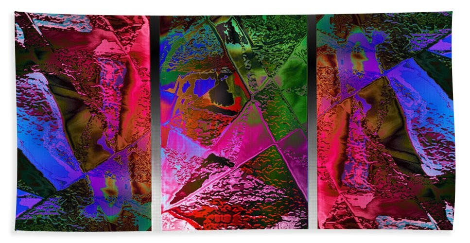 Paula Ayers Hand Towel featuring the digital art Triptych Chic by Paula Ayers