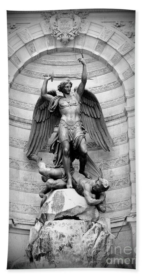 Fountain Bath Sheet featuring the photograph Triumphant Saint Michael by Carol Groenen